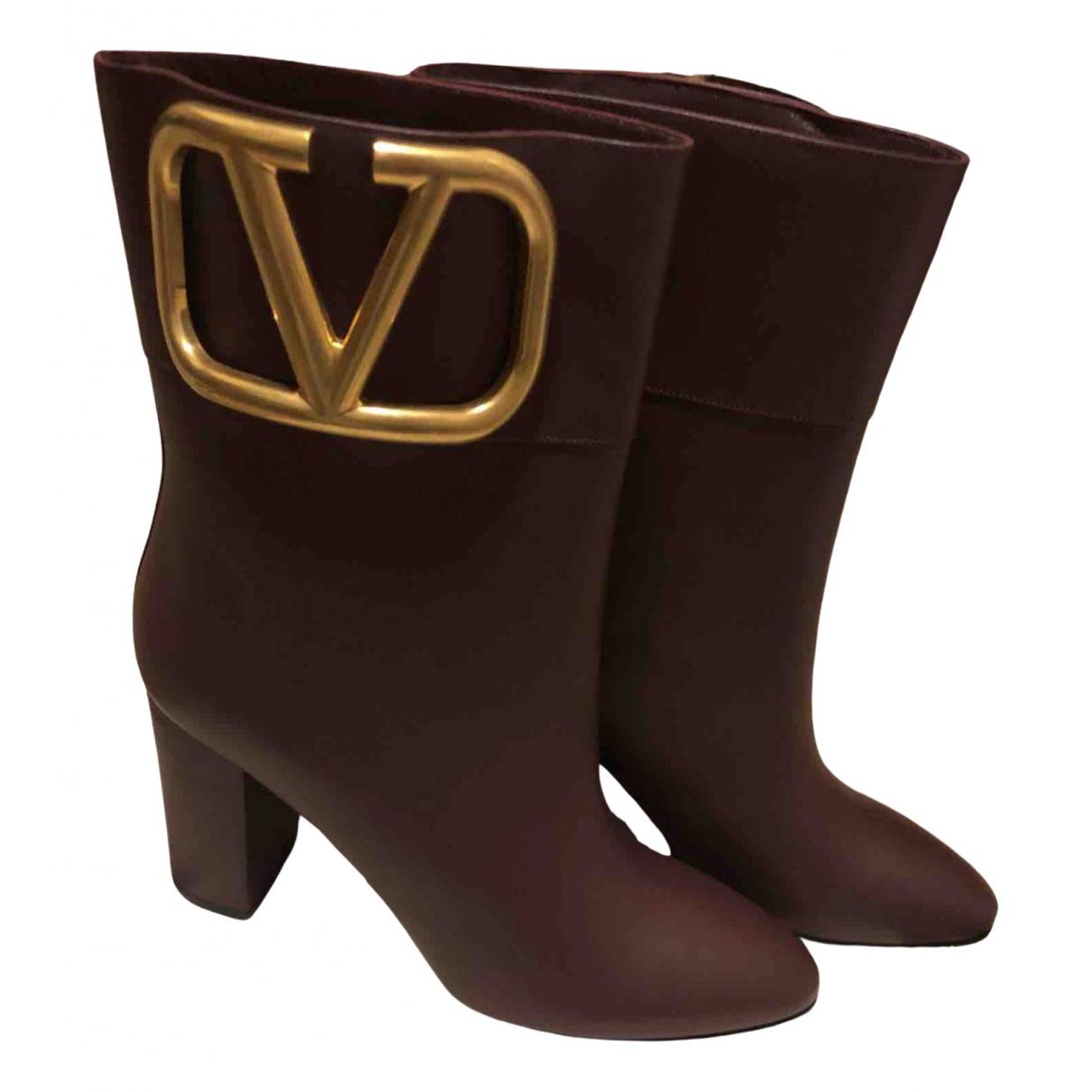 Valentino Garavani N Burgundy Leather Ankle boots for Women 40 EU