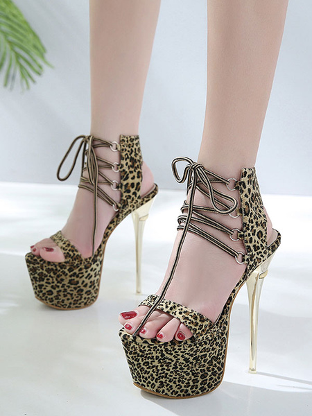 Milanoo High Heel Sandals Leopard Platform Open Toe Lace Up Stiletto Heel Sandals Women Sexy Shoes