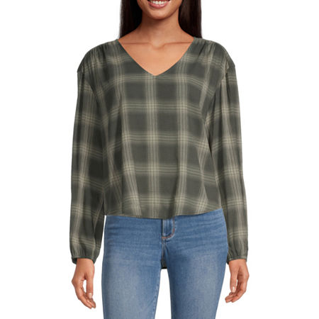 a.n.a Womens V Neck Long Sleeve Blouse, Small , Green