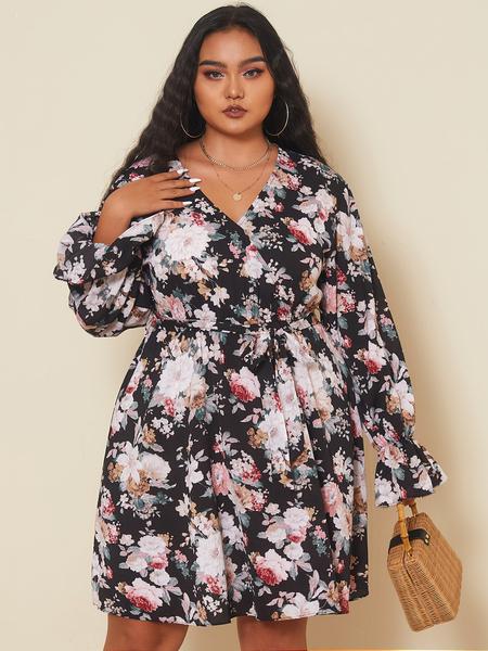 Yoins Plus Size V-neck Floral Print Belt Design Long Sleeves Mini Dress