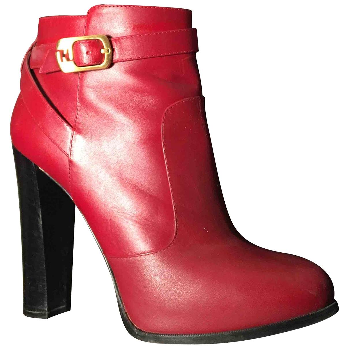 Fendi - Boots   pour femme en cuir - rouge