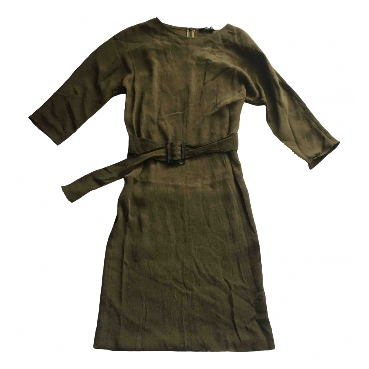 Massimo Dutti \N Kleid in  Khaki Seide