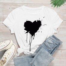 Weiss Herz Laessig T-Shirts