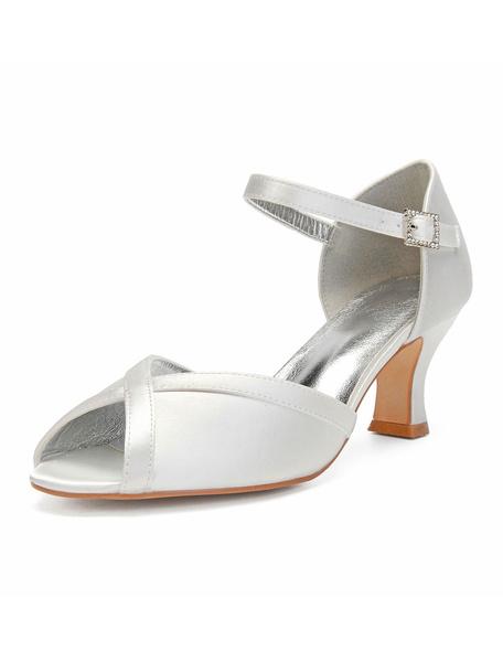 Milanoo Satin Wedding Shoes Ivory Peep Toe Rhinestones Bridal Shoes Wedding Guest Shoes