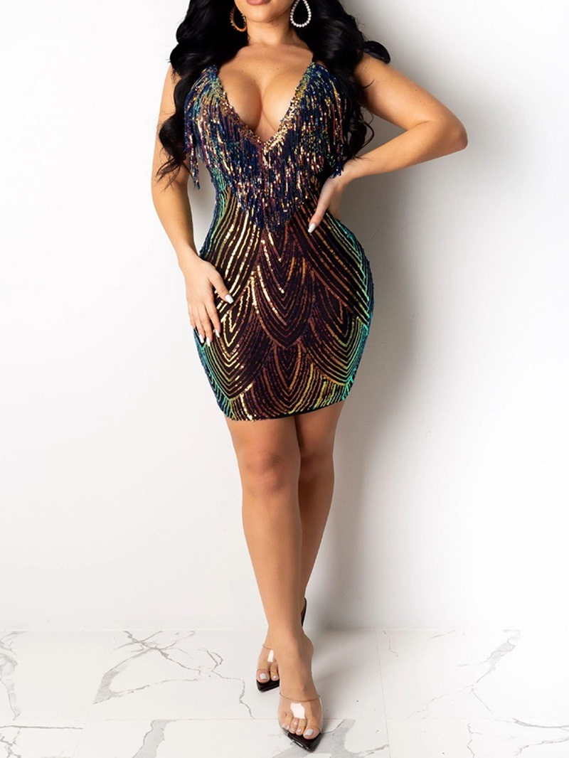 Ericdress Sequins V-Neck Above Knee Spaghetti Strap Sexy Dress