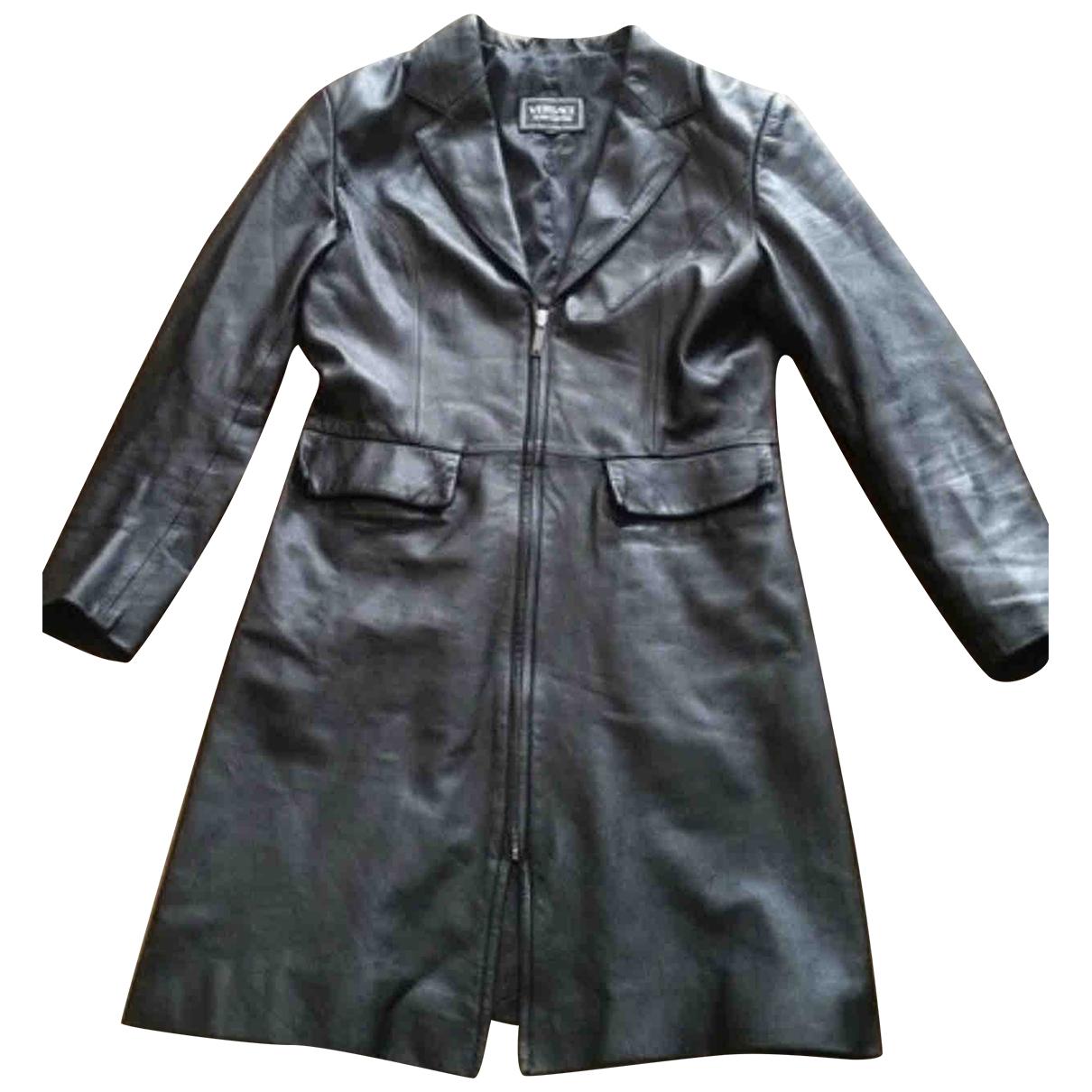 Versace Jean - Manteau   pour femme en cuir - noir