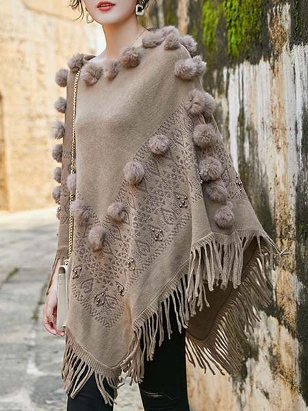 Milanoo Poncho de mujer con cuello joya capa de flecos en capas de albaricoque