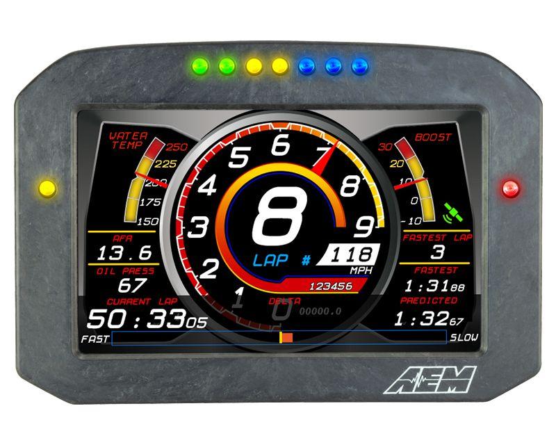 AEM Electronics 30-5703F CD-7FLG Carbon Logging & GPS-Enabled Flat Panel Digital Dash Display