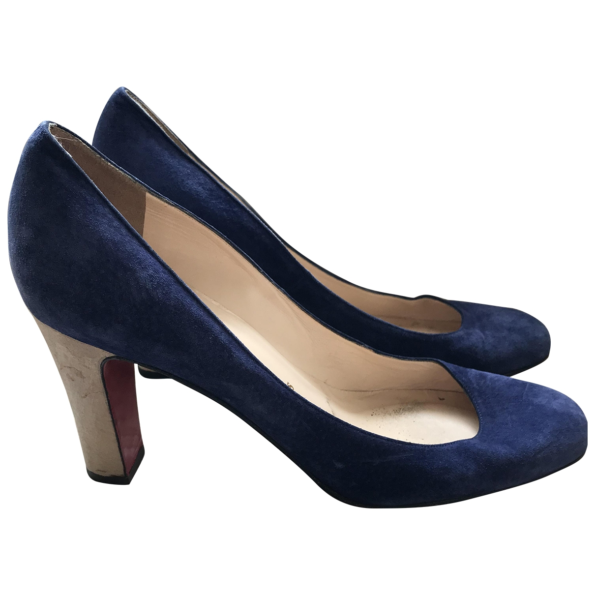 Christian Louboutin \N Blue Suede Heels for Women 5 UK
