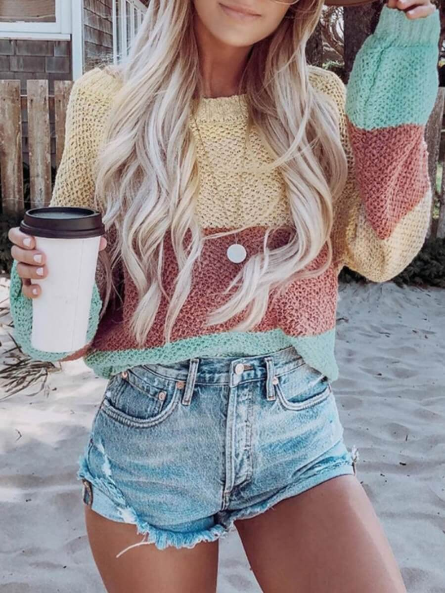 LW Lovely Casual Color-lump Patchwork Multicolor Sweater