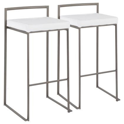 Fuji Collection B30-FUJIAN+VW2 Set of 2 Bar Height Stool with Velvet Fabric Upholstery  Industrial Style and Stackable Design in White