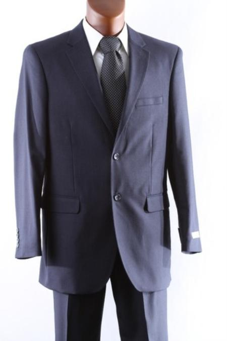 Mens 2 Button 1 Wool Suit W Single Pleat Pants Navy