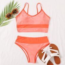 Contrast Side High Waisted Bikini Swimsuit