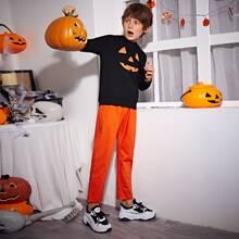 Kapuze mit Halloween Muster & Neon Orange Hose Set