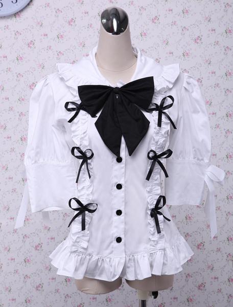 Milanoo Blusa de lolita de algodon de cuello vuelto y manga larga de moda