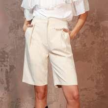 Shorts mit Reissverschluss, Klappe und Falten