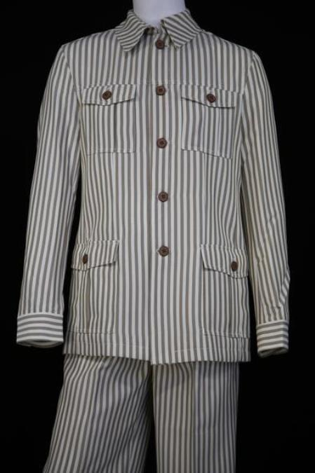 Mens Victorian Stripe Long Sleeve Walking Suit Coffee Quad Pockets