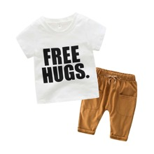 Toddler Boys Letter Graphic Tee With Drawstring Pants