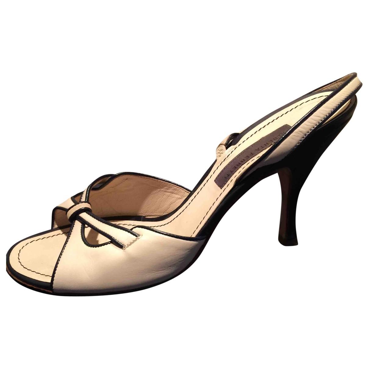 Alberta Ferretti \N Beige Leather Sandals for Women 37.5 IT