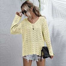 Open Knit Drop Shoulder Scallop Trim Sweater