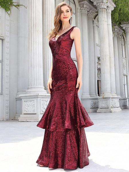 Milanoo Evening Dress Princess Silhouette V-Neck Floor-Length Sleeveless Backless Taffeta Formal Party Dresses