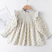 Toddler Girls Ditsy Floral Print Shirred Babydoll Blouse
