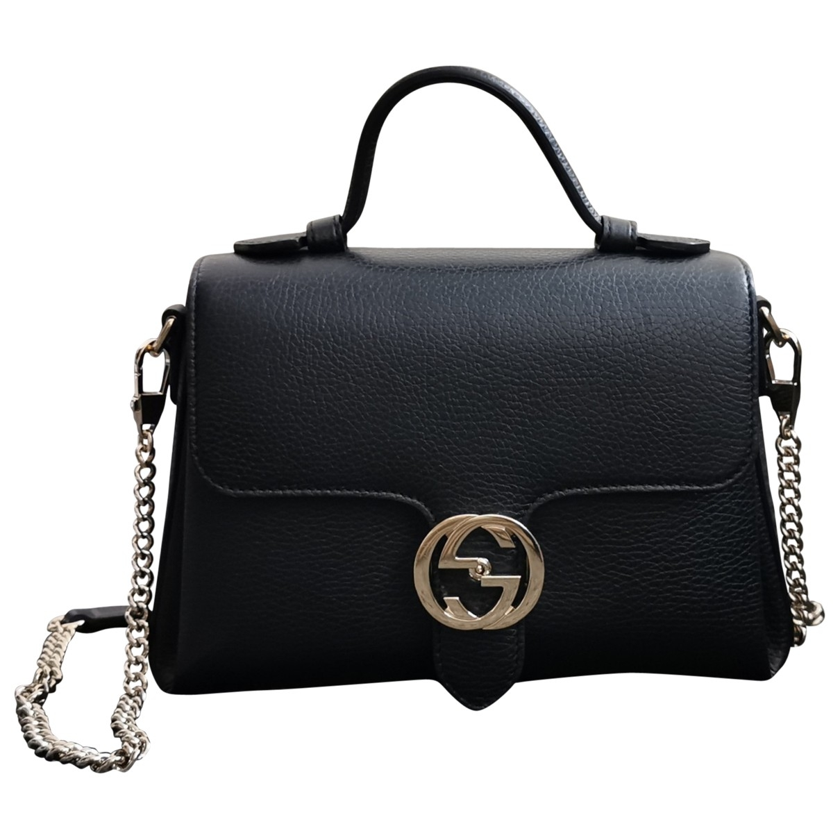 Gucci Interlocking Handtasche in  Schwarz Leder
