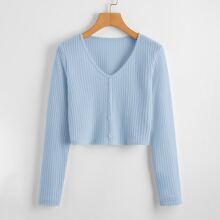 Button Front Waffle Knit Sweater