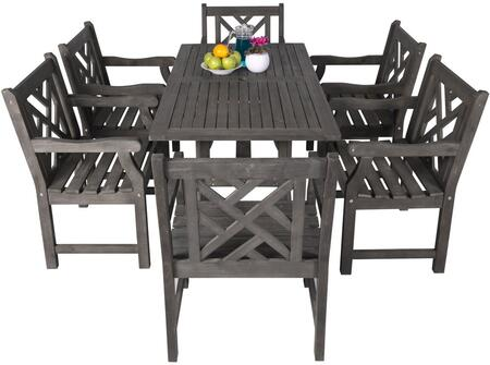 V1300SET3 Renaissance Serie Outdoor 7-Piece Patio Dining Set with 1x V1300 Table + 6x V1301 Chairs  Made From Acacia Hardwood  Multi-Resistant