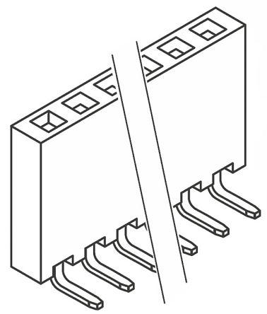 Samtec , SSQ 2.54mm Pitch 18 Way 1 Row Right Angle PCB Socket, Through Hole, Solder Termination