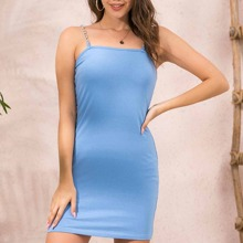 Chain Straps Solid Cami Dress