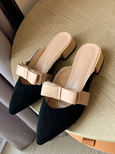 Milanoo Pink Suede Mules Women Pointed Toe Bow Slip On Shoes