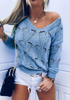 Hollow Out V-Neck Knitted Sweater - Blue