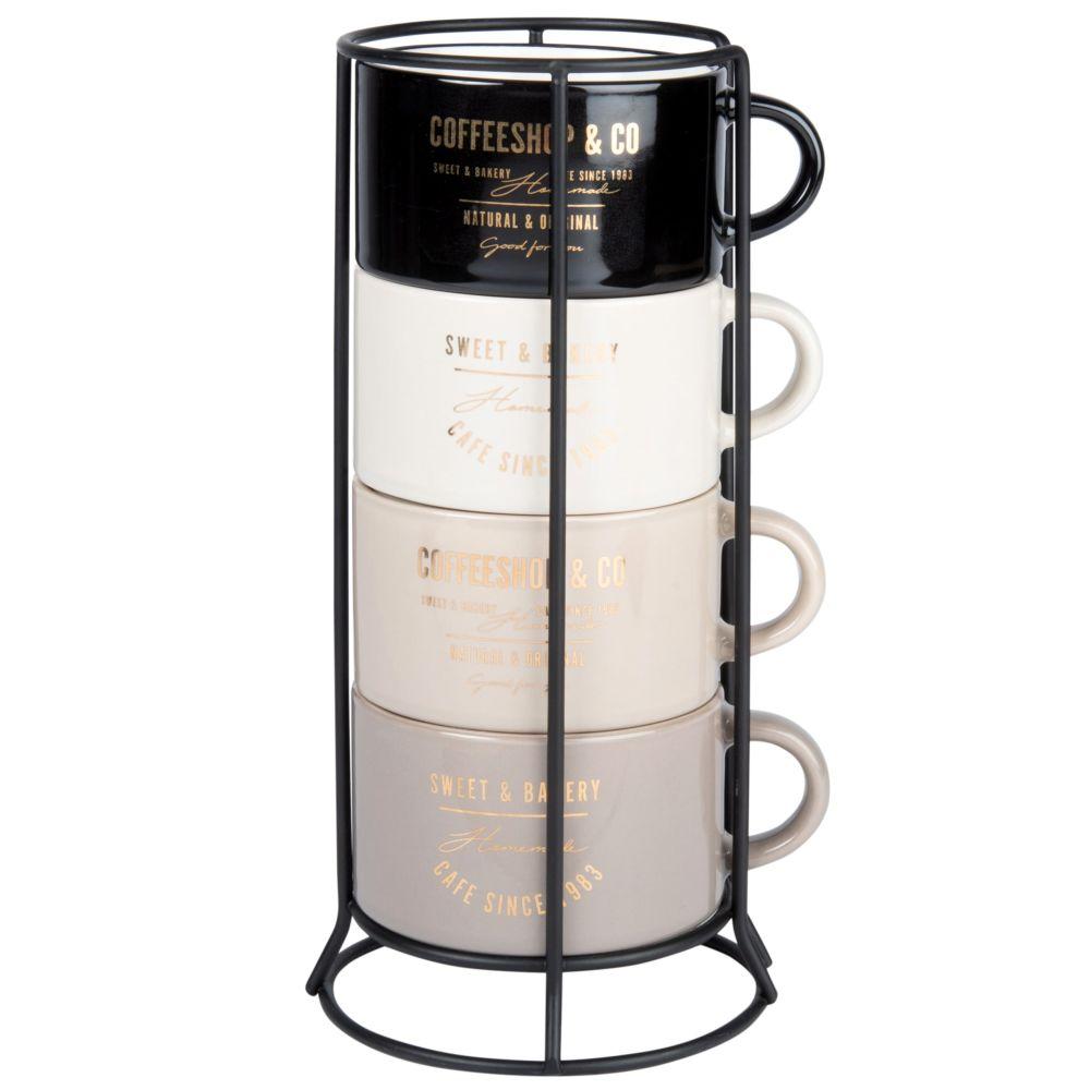 Tassen aus Fayence, schwarz, cremefarben und beige (x4), Halter aus Metall