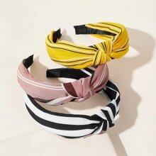 3pcs Striped Knot Hair Hoop