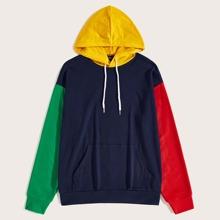 Guys Color Block Kangaroo Pocket Drawstring Hoodie
