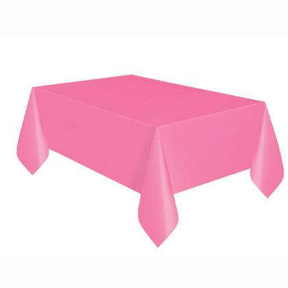 Party Plastic Table Cover Rectangular, Hot Pink Solid 54