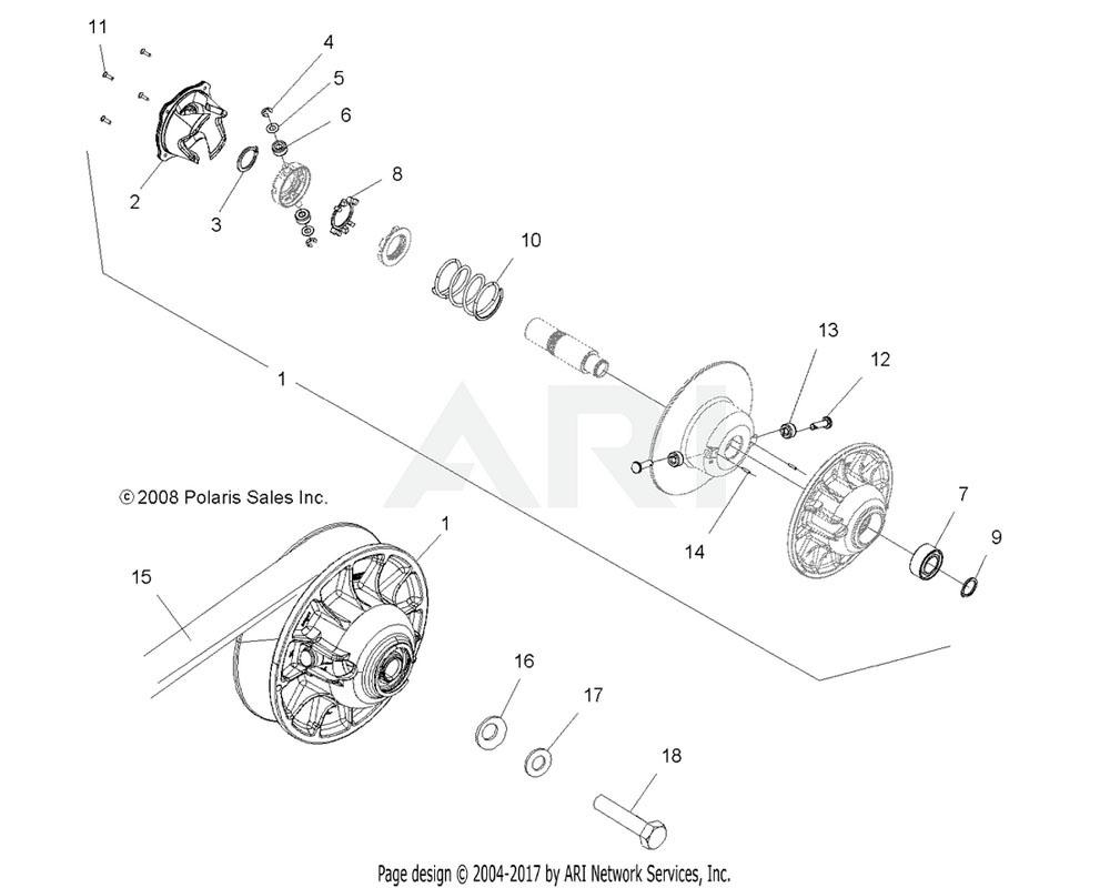 Polaris OEM 1322777 Asm., Driven Clutch   [Incl. 1-14]