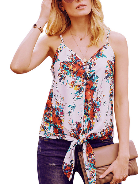 Yoins Button Design Knotted V-neck Sleeveless Cami