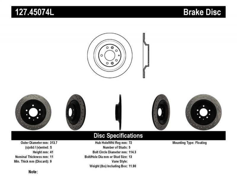 StopTech 127.45074L Sport Drilled/Slotted Brake Rotor; Rear Left Mazda Mazda 6 Rear Left 2006-2007 2.3L 4-Cyl