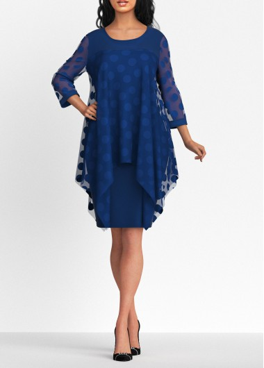 Party Dress Dot Mesh Panel Round Neck Navy Blue Dress - L