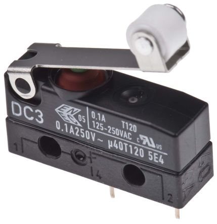 ZF SPDT-NO/NC Short Roller Lever Microswitch, 100 mA @ 30 V dc