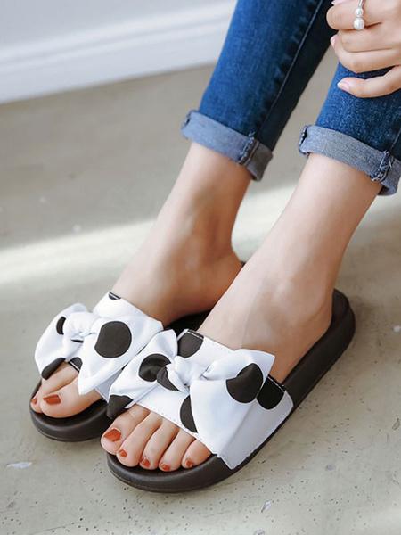 Milanoo Sandal Slippers Red Round Toe Bows Sandal Slides Slip-On Beach Women\'s Shoes
