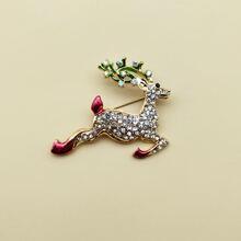 Rhinestone Decor Christmas Deer Design Brooch