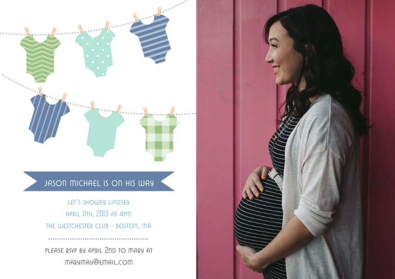 Baby Shower Invitations Flat Matte Photo Paper Cards with Envelopes, 5x7, Card & Stationery -Gingham Clothes Line