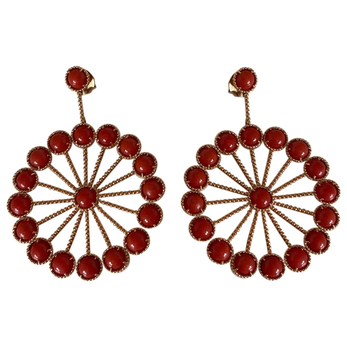 Non Signé / Unsigned Corail Red Pink gold Earrings for Women \N
