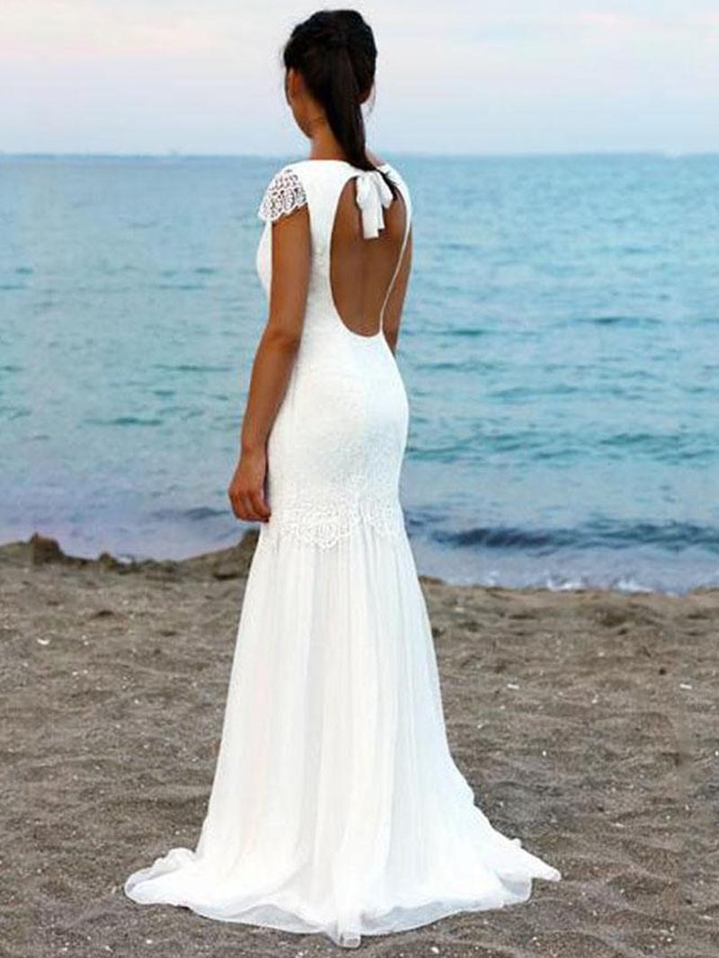 Ericdress Lace Mermaid Backless Beach Wedding Dress