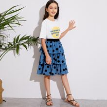Girls Slogan Graphic Drop Shoulder Tee and Layered Hem Skirt Set