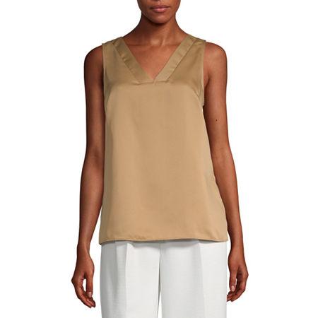 Worthington Womens V Neck Sleeveless Tank Top, X-small , Brown