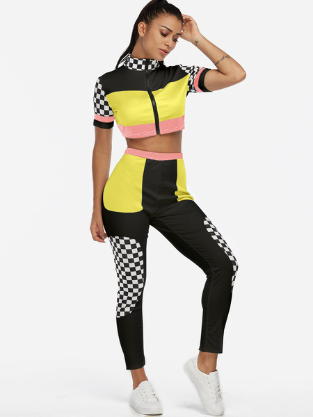 Yoins Yellow Zip Design Grid Short Sleeves High-waisted Active Tracksuit